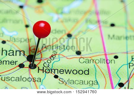 Homewood pinned on a map of Alabama, USA