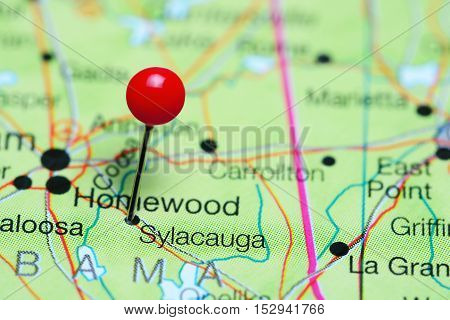 Sylacauga pinned on a map of Alabama, USA