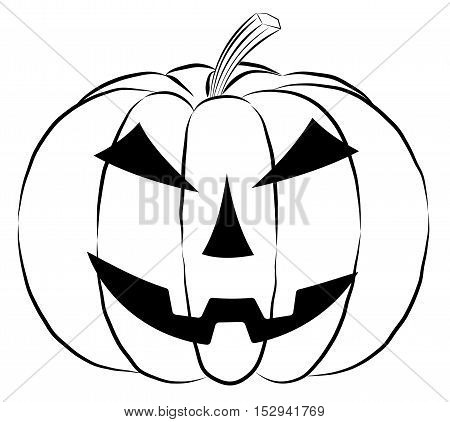 Pumpkin lantern icon in outline style isolated on white background. Halloween symbol vector illustration