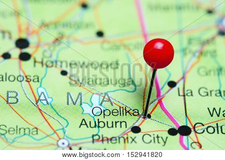 Opelika pinned on a map of Alabama, USA