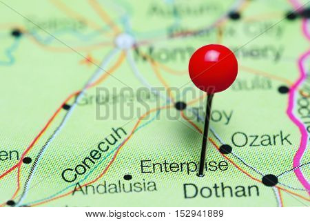 Enterprise pinned on a map of Alabama, USA