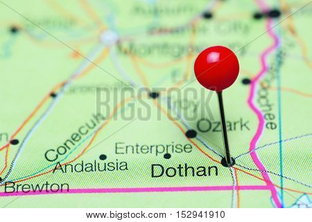 Dothan pinned on a map of Alabama, USA