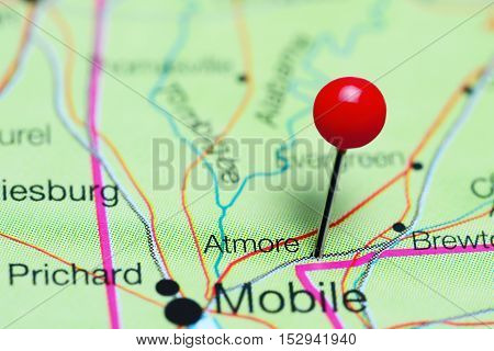 Atmore pinned on a map of Alabama, USA