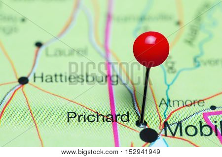 Prichard pinned on a map of Alabama, USA