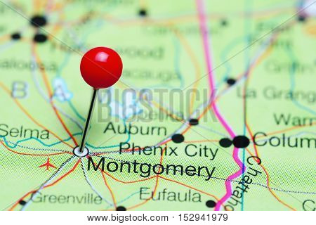 Montgomery pinned on a map of Alabama, USA