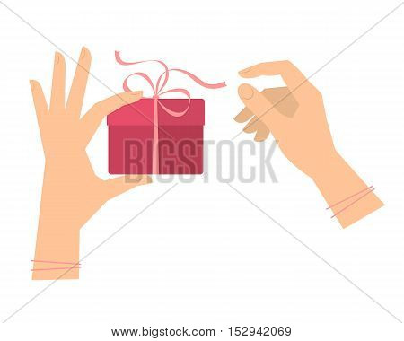 Female hands hold a gift and untie the ribbon. Flat illustration of holiday box with decoration tape and women's hands. Isolated vector design element for festive infographics and presentations.