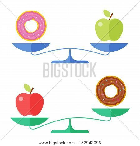 Apple and a donut on a scales. Flat concept illustration of libra, healthy and unhealthy food symbols. Isolated vector elements for diet, eating and healthcare infographics, presentations, and web.