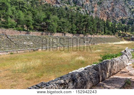 Columns in The Temple of Apollo and panorama Ancient Greek archaeological site of Delphi,Central Greece