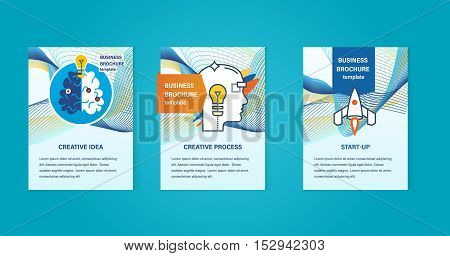 Concept of illustration - creative ideas, creative process, start-up, thinking and development. Abstract templates images for use in brochures, flyer. Business brochure design template vector