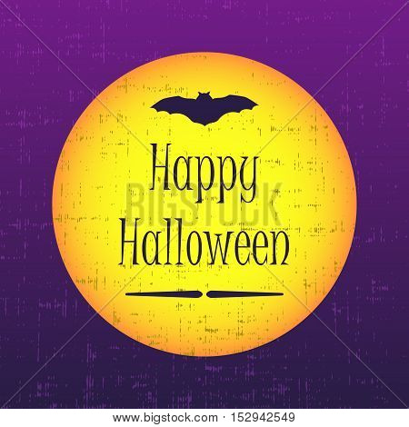 Happy halloween greeting card with moon and bat. Vector illustration.