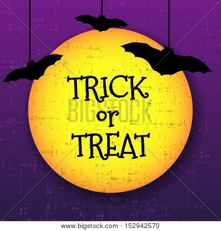Trick or treat halloween greeting card with moon and bats. Vector illustration.
