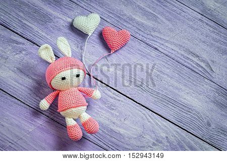 Handmade Crochet Rabbit Toy With Two Heart Balls. Amigurumi Doll, Space For Text.