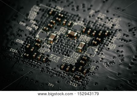 Electronic microcircuit and microchip as technology abstract background