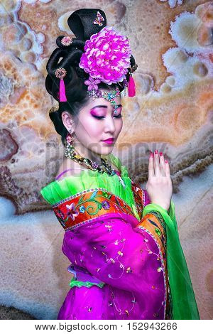Beautiful Young Asian Woman Dress Traditional Cheongsam