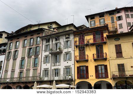 Lovere (Bergamo Lombardy Italy): along the Iseo lake: historic square