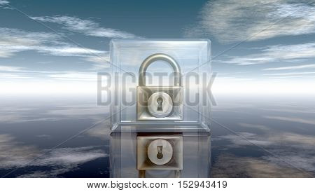 padlock in glass cube under cloudy sky - 3d illustration