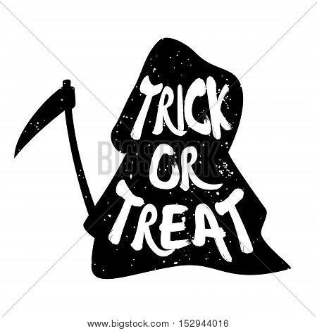 Trick or Treat. Silhouette of grim Reaper with lettering text. Vector background.