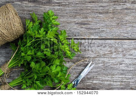 Fresh Crop Of Spices On Old Wooden Table