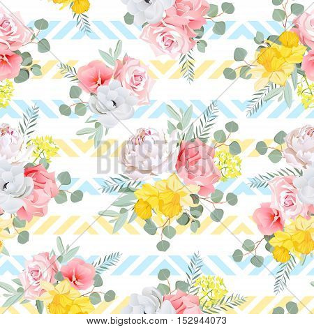 Summer sunny floral seamless vector pattern. Peony rose narcissus carnation. Blue and yellow striped background.