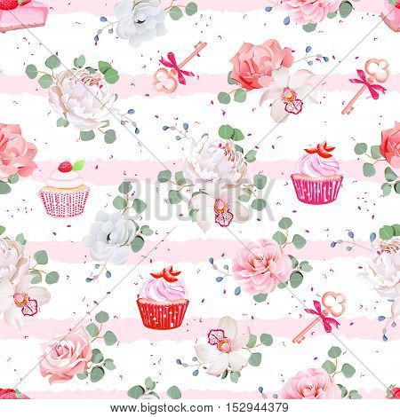 Pink striped seamless vector pattern with fresh pastries bouquets of flowers and keys with red bows. Peony orchid rose camellia cupcakes strawberry cheesecake. Speckled backdrop.