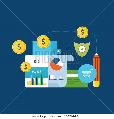 Concept of illustration - analysis and protection payments, finance and planning, financial report, online payments. Vector illustration for website, banner, printed materials and mobile app.