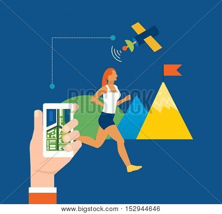 Concept illustration - gps navigation, search and route planning, information technology, communication with the satellite, online monitoring. Vector illustration.