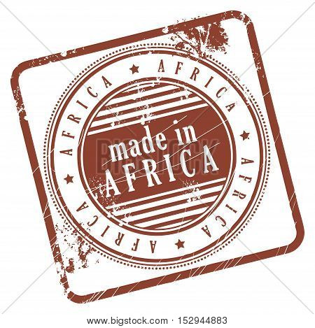 Grunge rubber stamp made in Africa, vector illustration