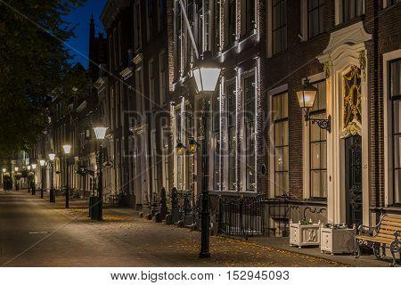 Zierikzee The Netherlands - October 5 2016: Houses at night at the Havenplein in Zierikzee in Zeeland The Netherlands.