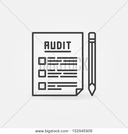 Audit documents outline icon. Vector financial document with pencil concept minimal symbol
