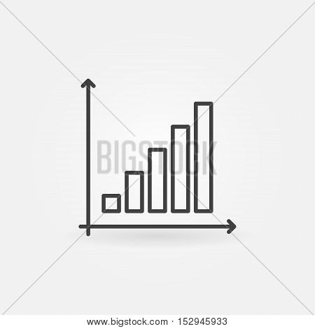 Business graph linear icon. Vector minimal growing graph sign in thin line style