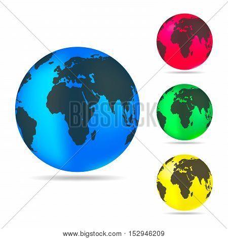 Set of planet Earth icons. Planet Earth with shadow on a white background. Vector illustration.