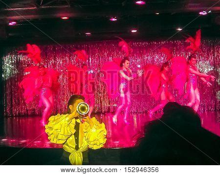 Bangkok Thailand - August 30 2016: Bangkok Cabaret Show. Bangkok have reputation as a partying hotspot with go-go bars ladyboy cabaret shows discos and clubs.