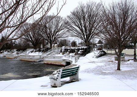 Snow and slush at Argyle Lake in Babylon Village NY