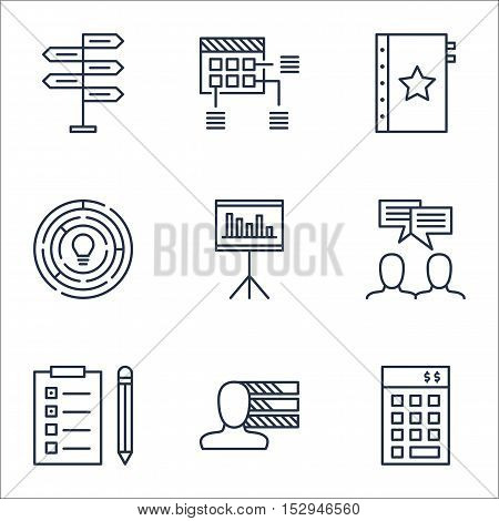 Set Of Project Management Icons On Discussion, Personal Skills And Innovation Topics. Editable Vecto