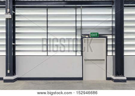 Building Emergency Exit with Exit Sign and emergency light