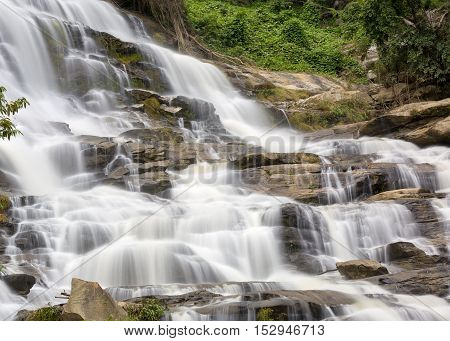Mae Yah Waterfall beautiful waterfall in autumn forest Chiang Mai province Thailand