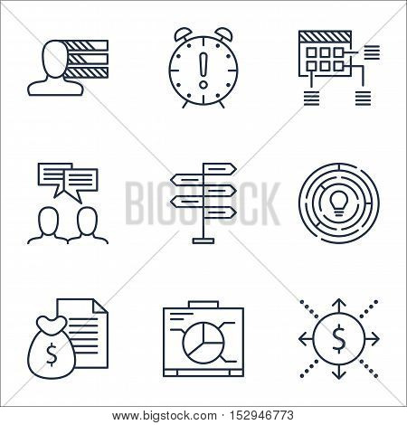 Set Of Project Management Icons On Time Management, Schedule And Opportunity Topics. Editable Vector