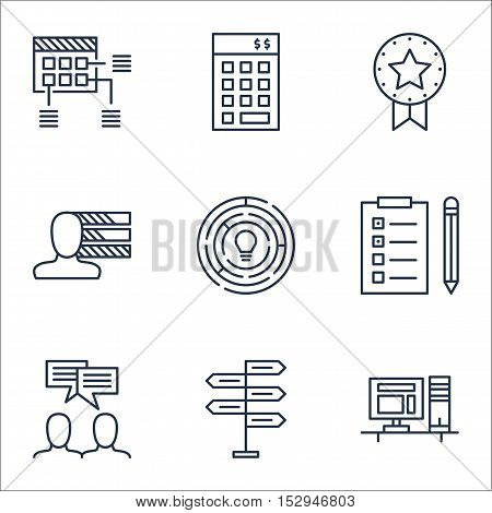 Set Of Project Management Icons On Present Badge, Opportunity And Schedule Topics. Editable Vector I
