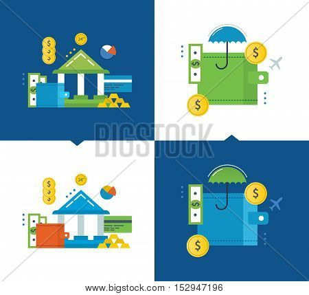 Concept of illustration - finance and financial contributions, online banking, insurance, investments and protection of deposits. Vector illustrations are shown on a light and dark background.