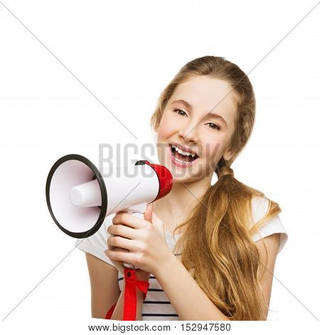 Beautiful teenage girl with blond hair screaming into megaphone. Happy expression. Isolated on white background. Copy space.