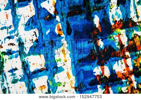 Abstract hand painted lined blue and red acrylic art background on paper texture