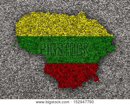 Map And Flag Of Lithuania On Poppy Seeds