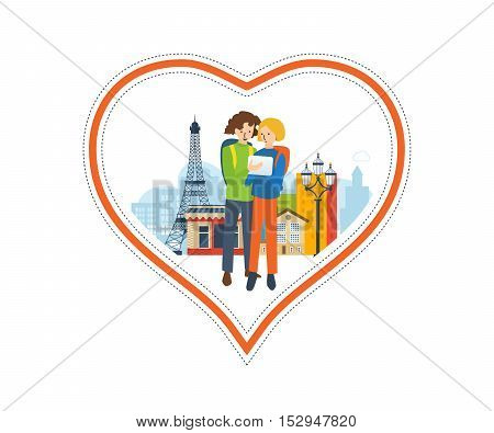 Concept of a trip to France and love for this city. The feeling of love to the city. Greeting card. The vector illustration can be used for a banner, commercial information, web-design