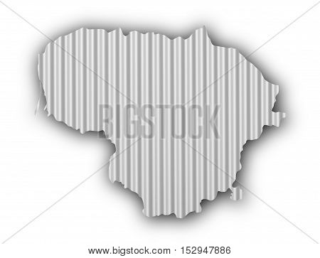 Map Of Lithuania On Corrugated Iron
