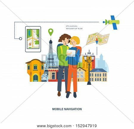 Concept of travel, the mobile navigation in travel. A guy and a girl looking for a route on the navigator on the background of the streets in France. Vector illustration.