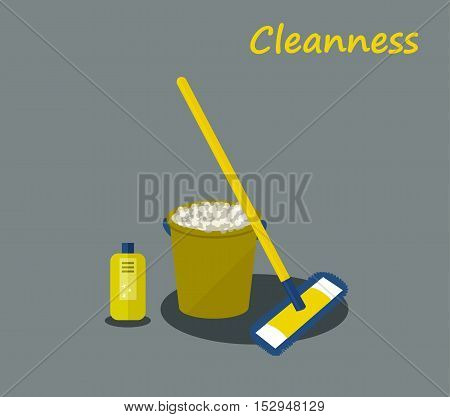 Tools for housekeeping: a green bucket with soapy foam, MOP with yellow handle and blue cloth and green bottle of detergent with a blue cover. Vector illustration