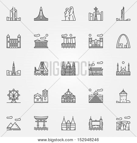 Travel landmarks icons set. Vector travel and tourism locations and landmarks symbols in thin line style. Monuments outline signs