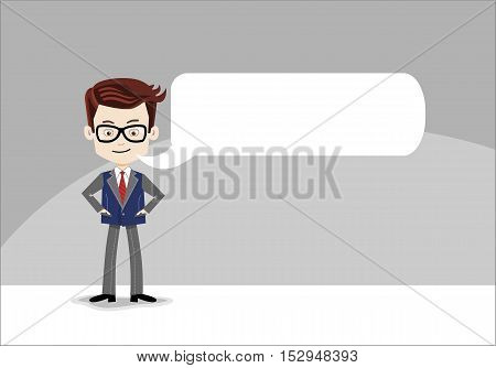 Stylish Cartoon businessman with message balloon on a grey background, glasses, tie, jacket, black shoes, casual stile. Saying word, space for text