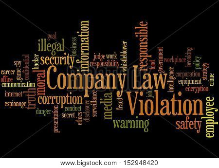Company Law Violation, Word Cloud Concept 2