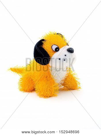 Soft plush toy dog shot on a white background.